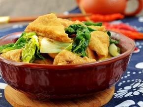 蚝油白菜烧豆泡的家常做法