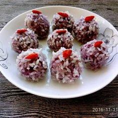 紫薯糯米丸的做法