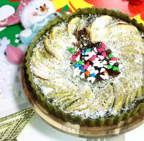 圣诞风抹茶椰蓉苹果派的家常做法